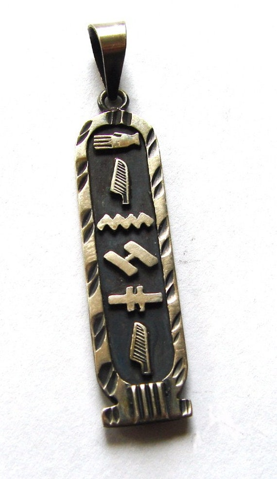 EGYPTIAN HIEROGLYPHICS CARTOUCHE Jewelry Silver Na