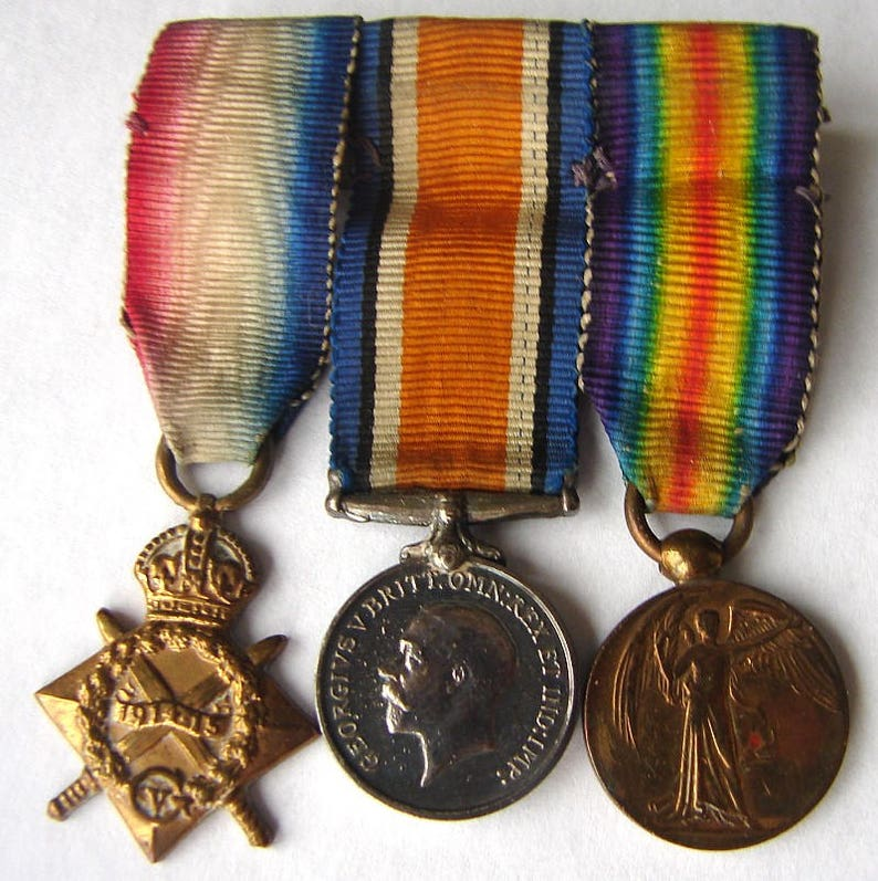 BRITISH WWI 3 MEDALS 1914-15 Star, British War Medal & Victory Medal  Miniature Medals bar and Ribbons