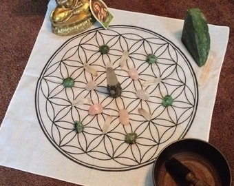 "Sacred geometry Flower of life MEGA 22"" Crystal Grid cloth bandana  Sacred Geometry 100% cotton free ship in the USA"