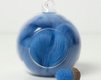 Merino Felting Wool- Wool Roving-Wool Tops -Colour Blue 03 -10grams