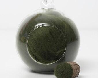 Merino Felting Wool- Wool Roving-Wool Tops -Colour Green 09 -10grams