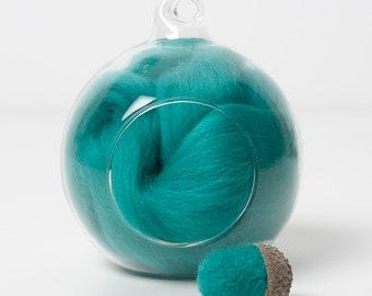 Merino Felting Wool- Wool Roving-Wool Tops -Colour Aqua 04 -10grams