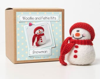 Snowman Felting Kit--Felting gift-Snowman Needle Felting Kit-Woollie and Feltie Kit,
