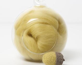 Merino Felting Wool- Wool Roving-Wool Tops -Colour Yellow 07 -10grams