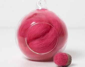 Merino Felting Wool- Wool Roving-Wool Tops -Colour Pink 05 -10grams