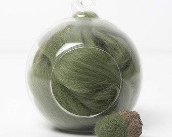 Merino Felting Wool- Wool Roving-Wool Tops -Colour Green 08 -10grams