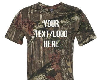 be3a229f8a Custom Code Five - Adult Mossy Oak® Camo Tee - 3970 Green Camo Camouflage  Customized with Vinyl or Glitter Print