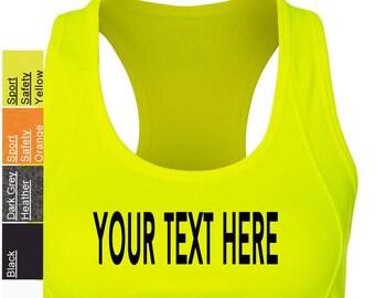 c3cf1a652f351 Custom Made All Sport - Women s Sports Bra - W2022 Vinyl or Glitter Print  Customized