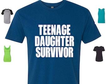 Custom Made Teenage Daughter Survivor Tshirt ,Teenage Daughter Survivor Top , Teenage Daughter Survivor Raglan Vinyl / Glitter