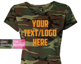 1844801be4 Custom Code V - Ladies' Camouflage T-Shirt - 3665 Green Woodland or Pink Camouflage  Camo Personalized TShirt Glitter or Vinyl Print