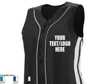 18be98e453c Custom Augusta Sportswear Women's Sleeveless Winner Jersey 1668 1669 Adult  & Youth Baseball Softball Jersey All Colors w/ Vinyl or Glitter
