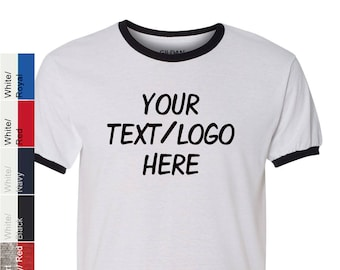 55b8c8d0 Custom Made Gildan - DryBlend Ringer T-Shirt - 8600 with Vinyl or Glitter  Print Customized Ringer Tshirt