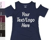 Custom Made Personalized Boxercraft T32 Cold Shoulder Tee Available in all Colors in Adult and Youth Sizes