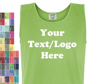 5e6dfaa9 Custom Made Comfort Colors - Pigment Dyed Tank Top - 9360 Personalized /Customized  Personalized Glitter or Vinyl Print
