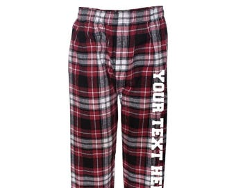 2bd512eba4 Custom Made Personalized Boxercraft Flannel Pants with Pockets F24 Maroon    Black Vinyl or Glitter Print Customized Pajama Style Pants