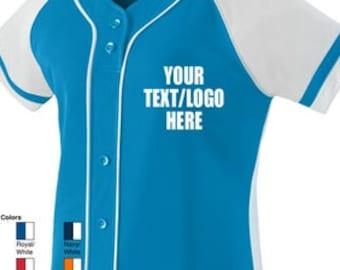 0f43ec85faa Custom Augusta Sportswear Women's Girls Winner Jersey 1665 1666 Adult &  Youth Size Baseball Softball Jersey All Colors w/ Vinyl or Glitter