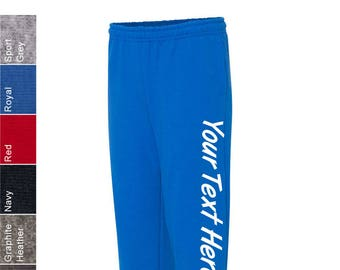 386fc8067a43 Custom Made Gildan - Heavy Blend Open Bottom Sweatpants with Pockets -  18300 with Vinyl or Glitter Print Customized Sweatpants