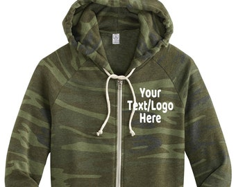 Custom Made AA9573 Alternative Women s Adrian Eco™ -Fleece Camouflage Zip Hoodie  Customized Alternative Vinyl or Glitter Print Customized 61e7e6fd4b