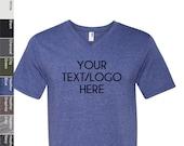 Custom Made Anvil - Lightweight Ringspun V-Neck T-Shirt - 982 Vinyl or Glitter Print Customized All Colors