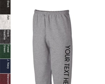 9ab654cfd03 Custom Made Jerzees - SUPER SWEATS Sweatpants with Pockets - 4850MR Vinyl  or Glitter Print Customized Available