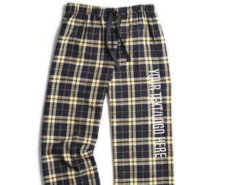 8d5ab2a5f2 Custom Made Personalized Boxercraft Flannel Pants Black and Gold F20  Glitter or Vinyl Print Customized Pajama Style Pants with your text