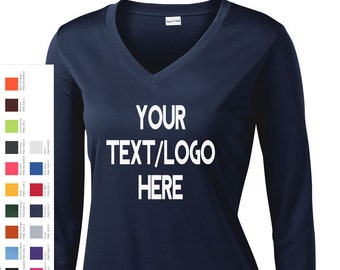 a63ab050d17af Custom Made Sport-Tek® Ladies Long Sleeve PosiCharge® Competitor™ V-Neck  Tee LST353LS Vinyl or Glitter Print Customized All Colors