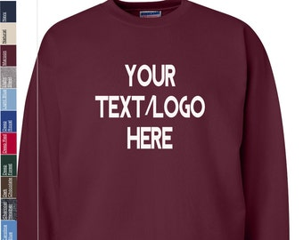 242e6a7b Custom Hanes - Ultimate Cotton Crewneck Sweatshirt - F260 Available in All  sizes and colors - Vinyl or Glitter Print
