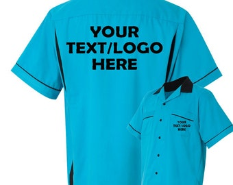 9562e5e48 Custom Made Hilton HP2244 Turquoise and Black Bowling Shirt with Glitter or  Vinyl Print Personalized Customized for your Team.