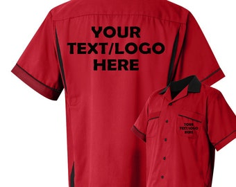 0c4e77e27 Custom Made Hilton HP2244 Red & Black Bowling Shirt with Glitter or Vinyl  Print Personalized Customized for your Team.