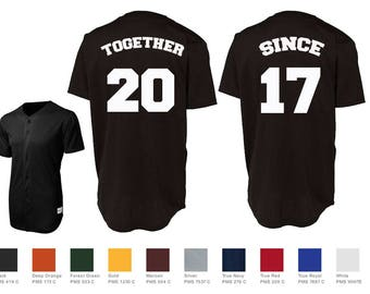 Together Since Custom Baseball Jersey Number Style Couples Jersey Shirts  Sport-Tek® PosiCharge™ Tough Mesh Full-Button Baseball Jersey St220 60133fed3