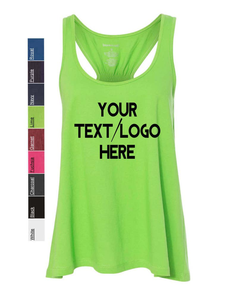 3fdf43acb5c64 Personalized Boxercraft - Women's Flare Tank - T87 Custom Made & Customized  with Vinyl or Glitter Print