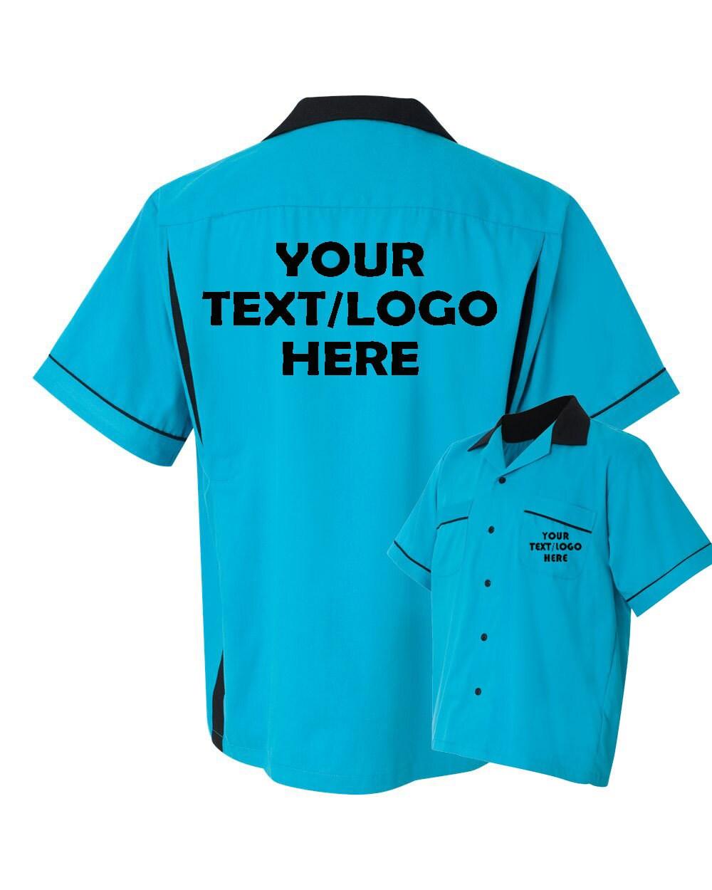 Custom Made Hilton Hp2244 Turquoise And Black Bowling Shirt Etsy