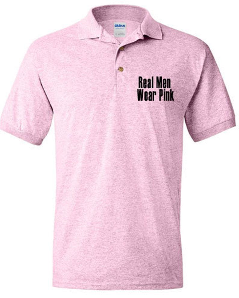 24ffa63bb Real Men Wear Pink Ribbon Breast Cancer Awareness Polo Shirt | Etsy