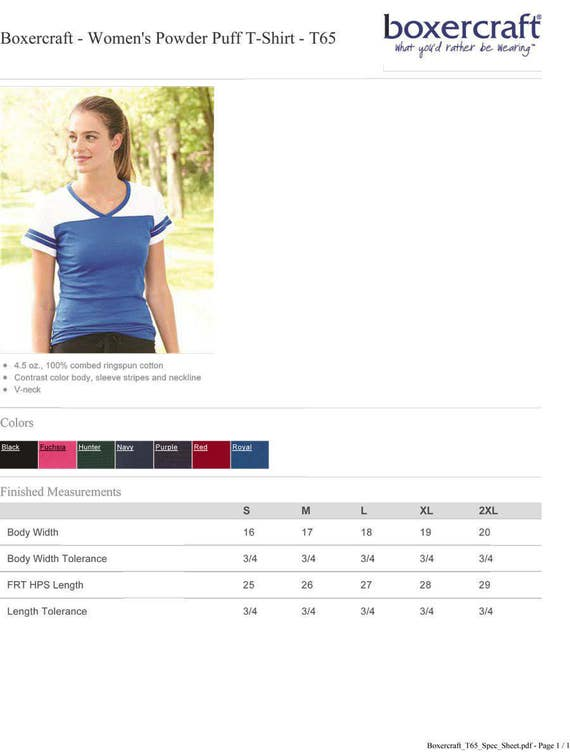 a7bb4b8bce4aa Personalized Boxercraft - Women's Powder Puff T-Shirt - T65 Custom Made &  Customized with Vinyl or Glitter Print