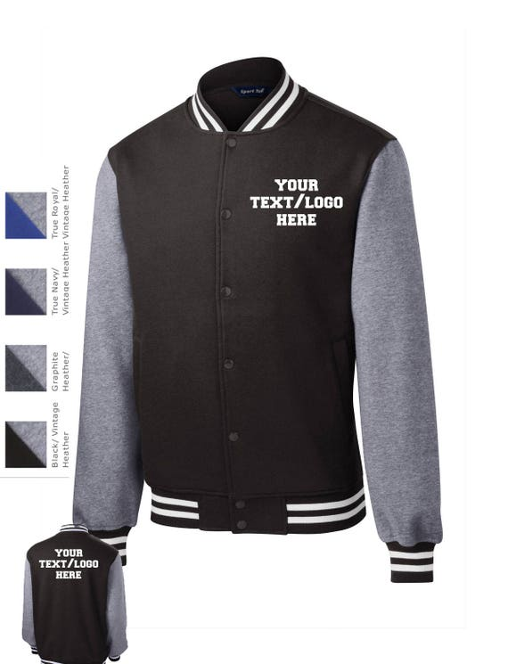 Custom Made Sport Tek® Fleece Letterman Jacket ST270 Vinyl or Glitter Print Customized All Colors Letter Jacket
