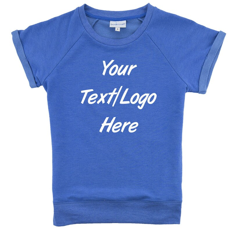 12f368531fc5c Custom Made Personalized Boxercraft Women's Sweetheart French Terry Short  Sleeve Pullover Royal Blue R32 Glitter or Vinyl Print