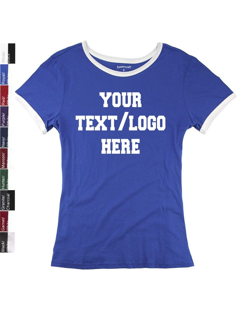 1e56a3f7ad8f6 Custom Made Personalized Boxercraft T47 Ladies and Girls Ringer Tee  Available in all Colors in Adult and Youth Sizes Custom Team Shirts