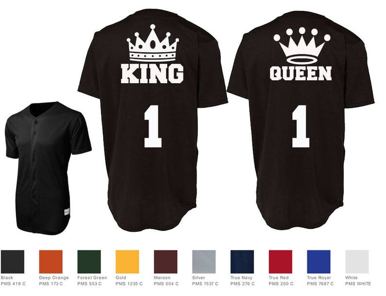 df13b3ca6 King Queen With Crowns Custom Baseball Jersey Number Style