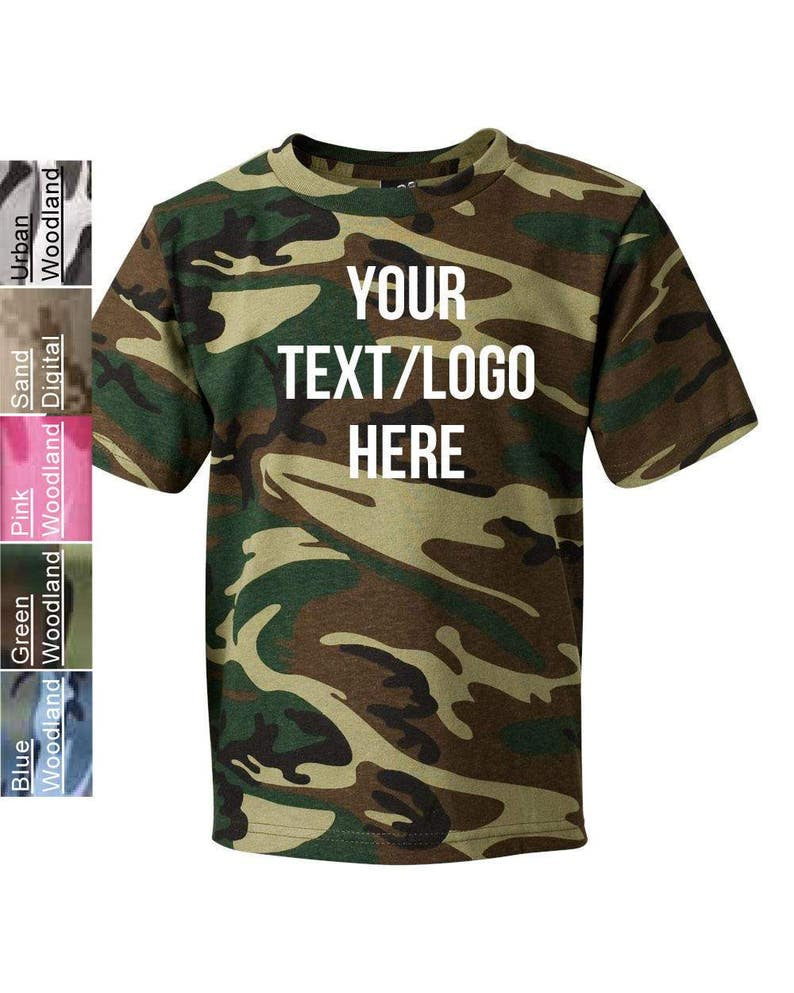 e274bdbc1c Custom Code Five Youth Camouflage T-Shirt 2206 Green Camo Pink   Etsy