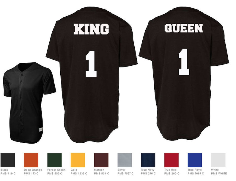 6b7c096f7 King queen custom baseball jersey number style couples jersey etsy jpg  794x609 Button jersey shirts