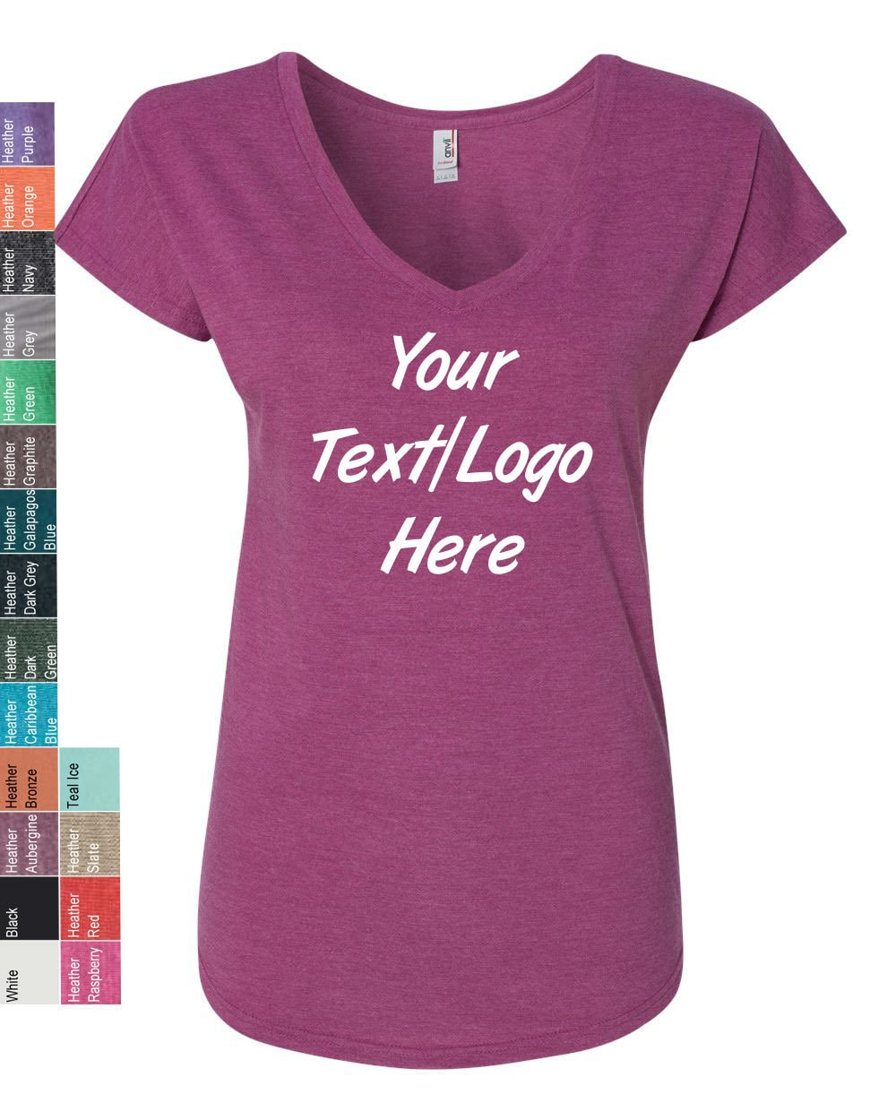 Customized Anvil Ladies Triblend V Neck T Shirt 6750vl Custom Personalized Anvil Tshirt Available All Colors Sizes
