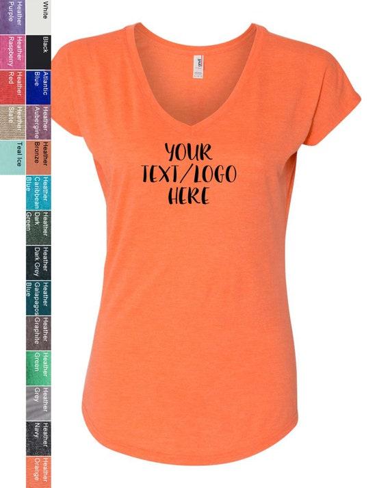 b47d8f819fcb Customized Anvil Ladies' Triblend V-Neck T-Shirt 6750VL | Etsy