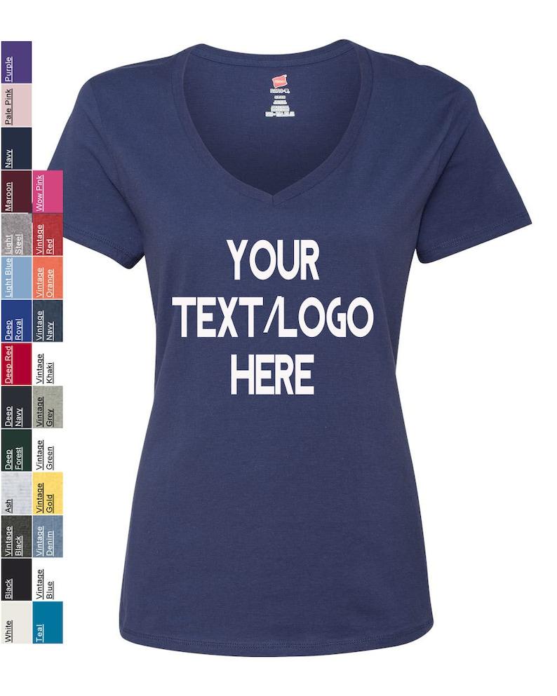 a6112ff228775a Custom Hanes Nano-T Women's V-Neck T-Shirt S04V   Etsy