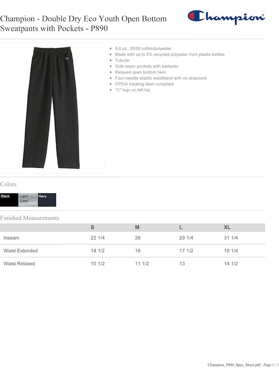P890 Vinyl or Glitter Print Customized Champion Pants Eco Youth Open Bottom Sweatpants with Pockets Personalized Champion