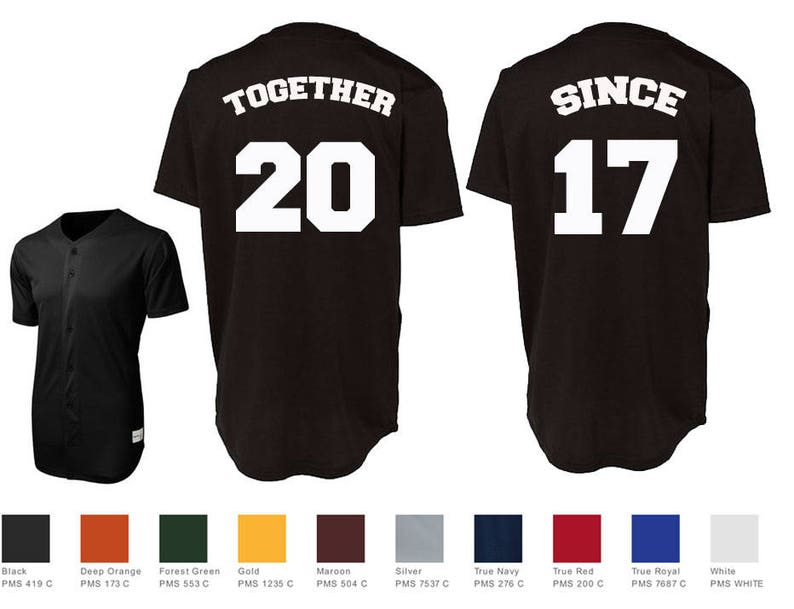0436c6310 Together Since Custom Baseball Jersey Number Style Couples | Etsy