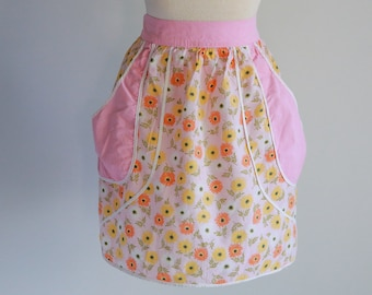 1940s Pink and Floral Half Apron