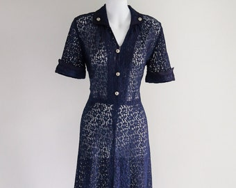 7fa461cc267 Navy Lace with Rhinestone Buttons- Sz S