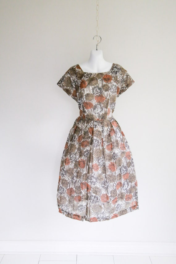 Chrysanthemum Sheer Fit & Flare Dress - Sz L