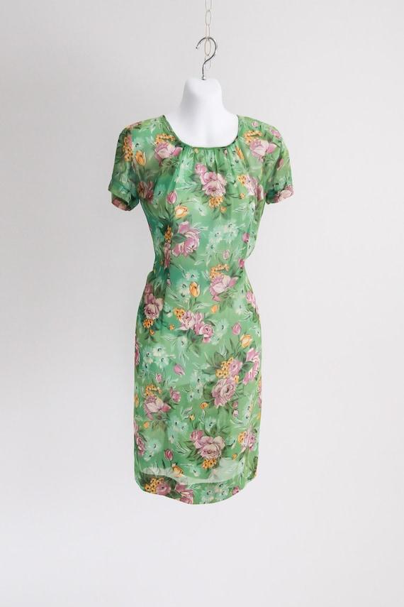 Sheer Rayon Floral Dress - Sz xS