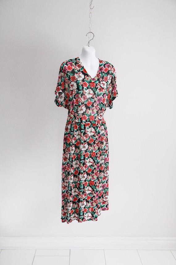 Sheer Rayon, Dolman Sleeve Floral Dress - Sz S-M